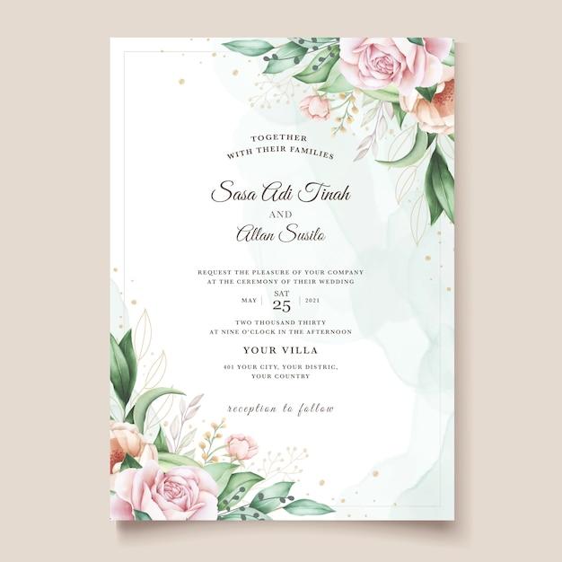 Modèle De Carte D'invitation De Mariage Floral Dessiné à La Main Vecteur gratuit