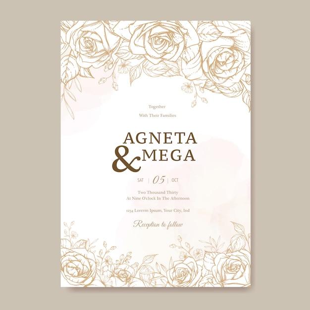 Modèle De Carte D'invitation De Mariage Floral élégant Vecteur gratuit