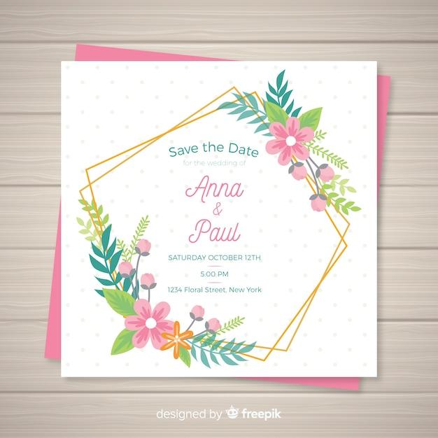 Modèle de carte d'invitation de mariage floral Vecteur gratuit