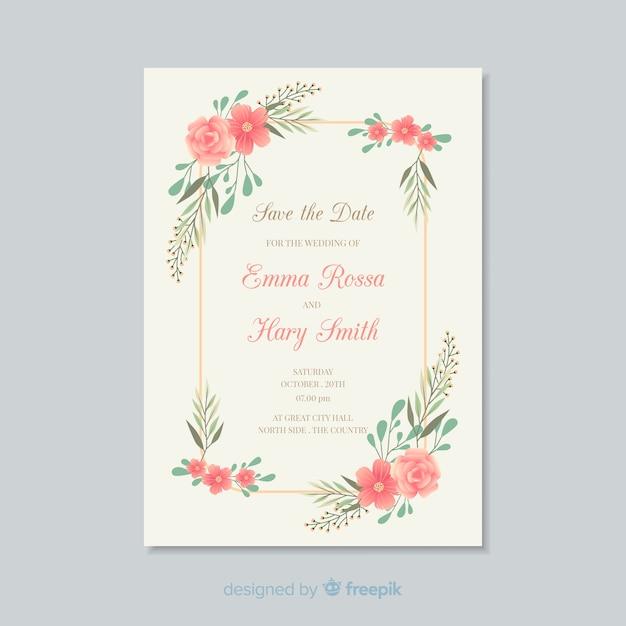 Modèle De Carte Dinvitation De Mariage Floral Télécharger