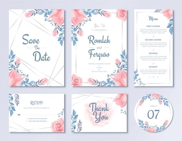 Modèle de carte d'invitation de mariage de luxe fixé à l'aquarelle style floral flowers avec menu et numéro de table rsvp Vecteur Premium