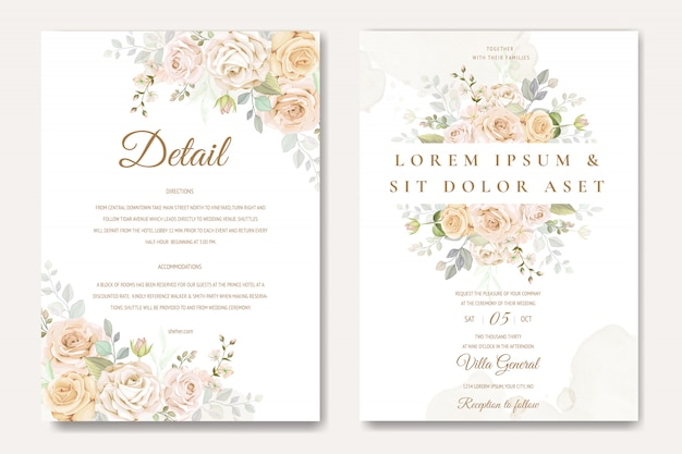 Modèle de carte invitation de mariage magnifique avec des roses blanches et jaunes Vecteur Premium
