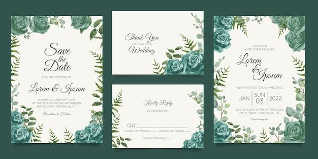 Modèle De Carte D'invitation De Mariage Magnifique Serti De Cadre Floral Géométrique Vecteur Premium
