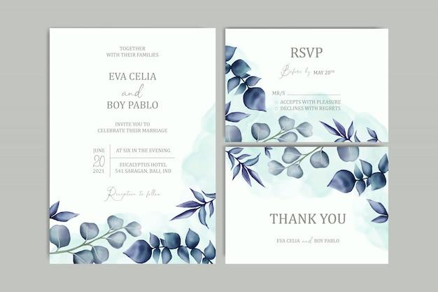 Modèle De Carte D'invitation De Mariage Magnifique Serti De Cadre Floral Vecteur Premium