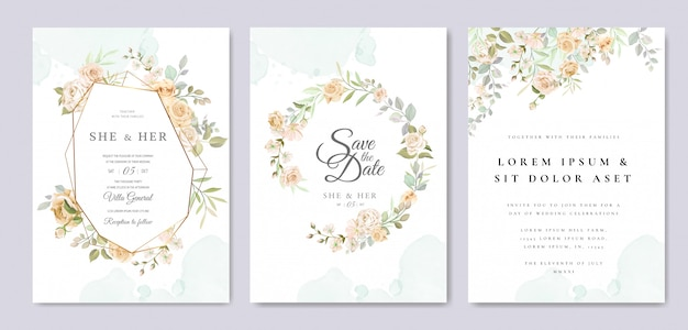 Modèle De Carte D'invitation De Mariage Magnifique Vecteur Premium