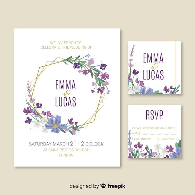 Modèle de carte d'invitation de mariage mignon Vecteur gratuit