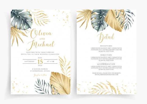 Modèle De Carte D'invitation De Mariage En Or Tropical Vecteur Premium