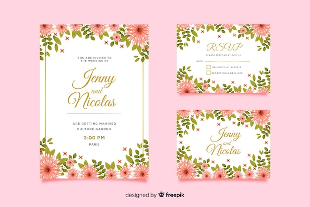 Modèle de carte d'invitation de mariage et rsvp Vecteur gratuit