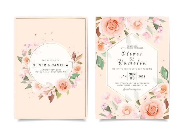 Modèle De Carte D'invitation De Mariage Serti De Divers Motifs Floraux Vecteur Premium