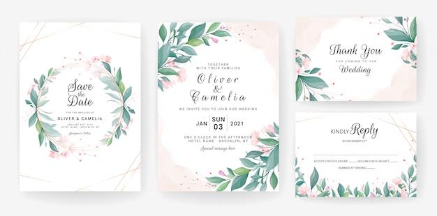 Modèle De Carte D'invitation De Mariage Serti De Feuilles, De Petites Fleurs Vecteur Premium