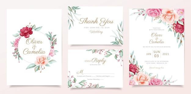 Modèle de carte invitation de mariage sertie de bordure et cadre floral aquarelle Vecteur Premium