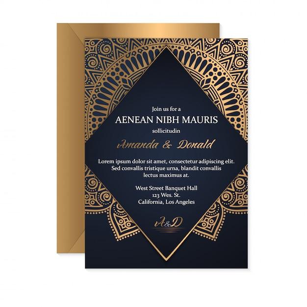 Modèle De Carte D'invitation De Mariage Avec Style Ethnique, Design Oriental Vecteur Premium
