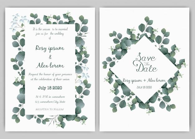 Modèle de carte invitation de mariage verdure, eucalyptus Vecteur Premium