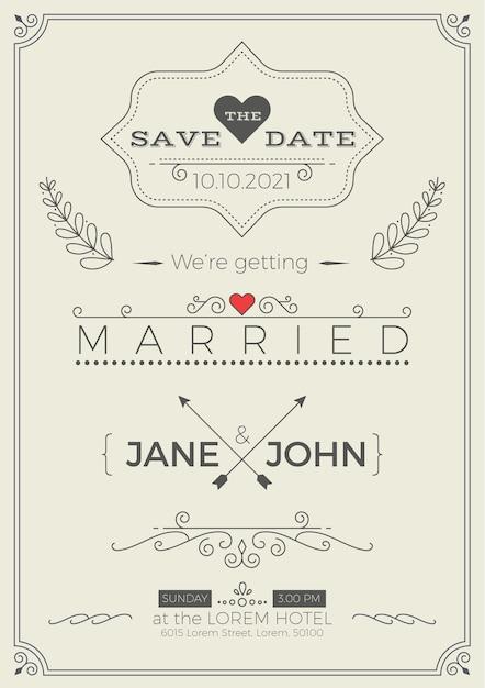 Modèle de carte d'invitation de mariage vintage avec illustration de mise en page propre & simple Vecteur Premium
