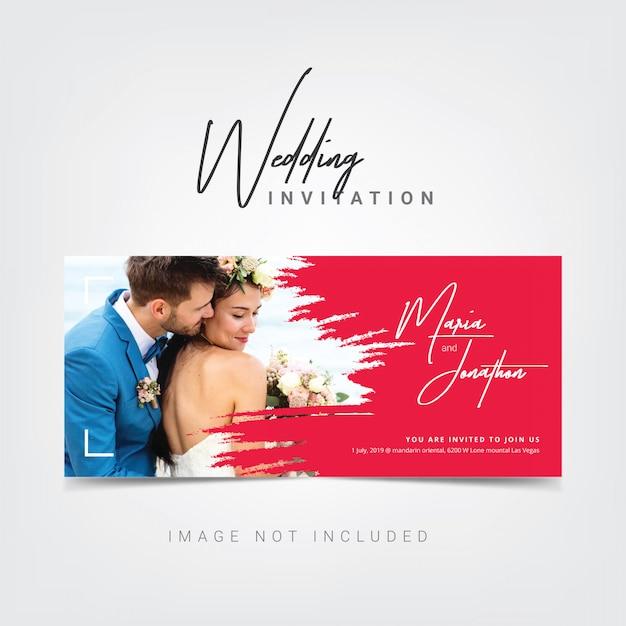 Modèle de carte d'invitation de mariage Vecteur Premium