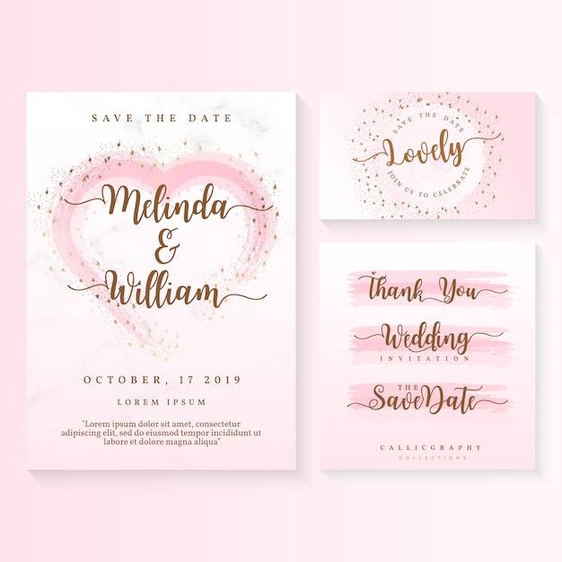 Modèle de carte invitation mariage Vecteur Premium