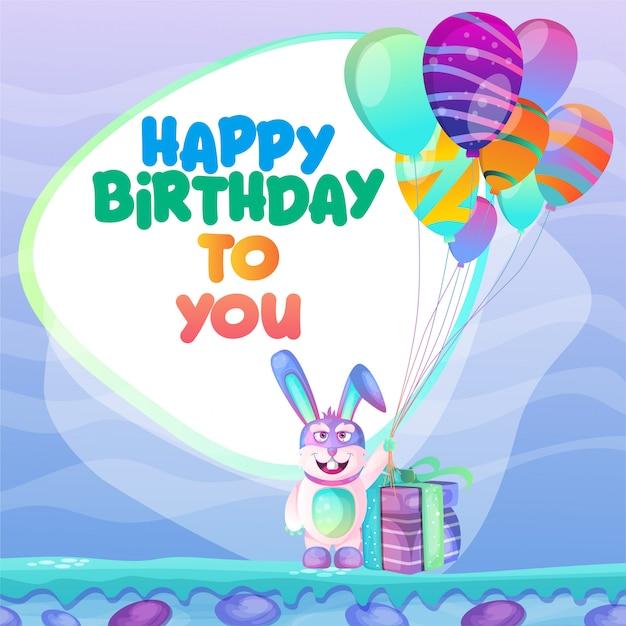 Modèle de carte de joyeux anniversaire Vecteur Premium