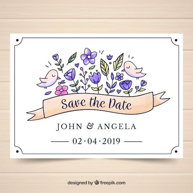 Modèle de carte de mariage aquarelle avec style floral Vecteur gratuit