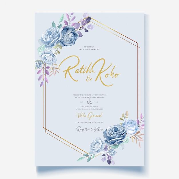 Modèle De Carte De Mariage Avec Une Belle Couronne Florale Bleue Vecteur Premium
