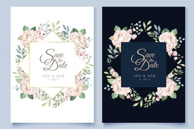 Modèle De Carte De Mariage Avec Une Belle Couronne Florale Vecteur Premium