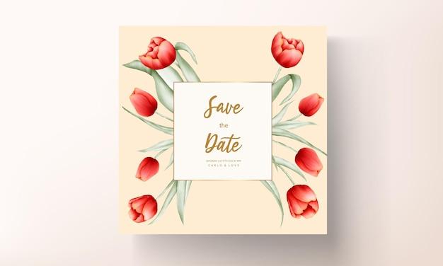 Modèle De Carte De Mariage Belle Fleur Tulipe Rouge Vecteur Premium