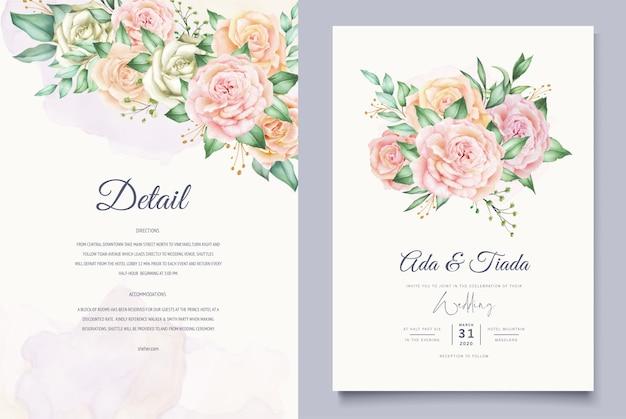 Modèle De Carte De Mariage De Belles Feuilles D'aquarelle Vecteur gratuit