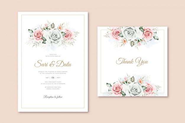Modèle De Carte De Mariage élégant Avec Aquarelle Bouquet Floral Vecteur Premium