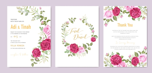 Modèle de carte de mariage élégant avec couronne de belles roses Vecteur Premium