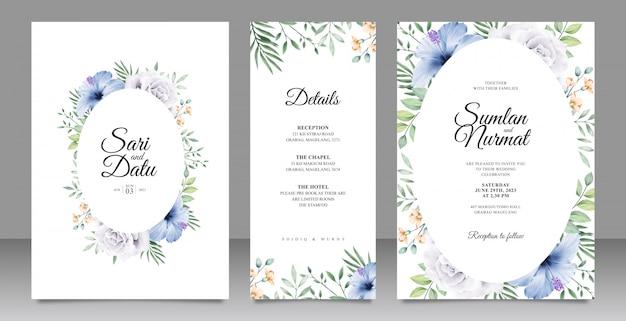 Modèle de carte de mariage élégant avec fleurs et feuilles aquarel Vecteur Premium