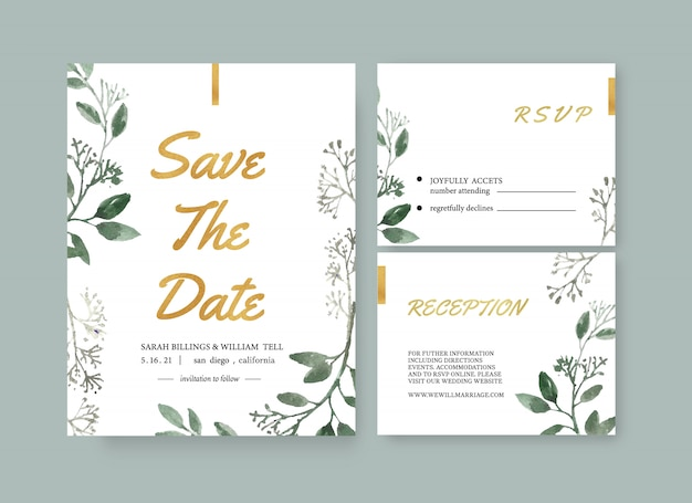 Modèle de carte de mariage floral aquarelle Vecteur gratuit