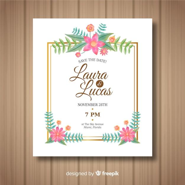 Modèle de carte de mariage floral avec cadre doré Vecteur gratuit
