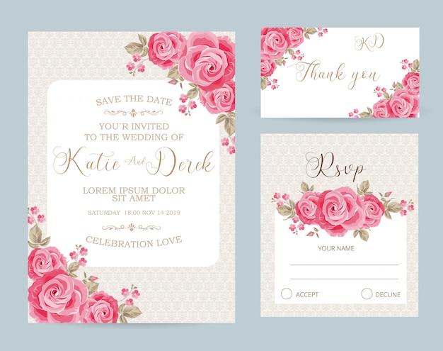 Modèle de carte de mariage floral carte rsvp et merci Vecteur Premium