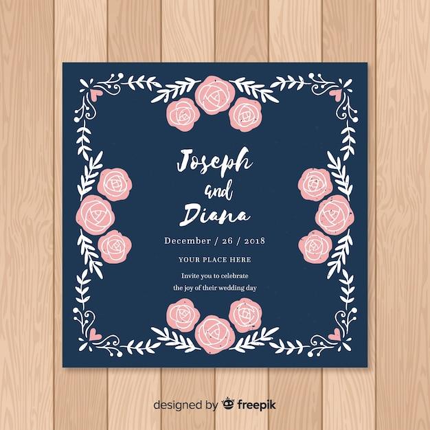 Modèle de carte de mariage floral dessiné main Vecteur gratuit