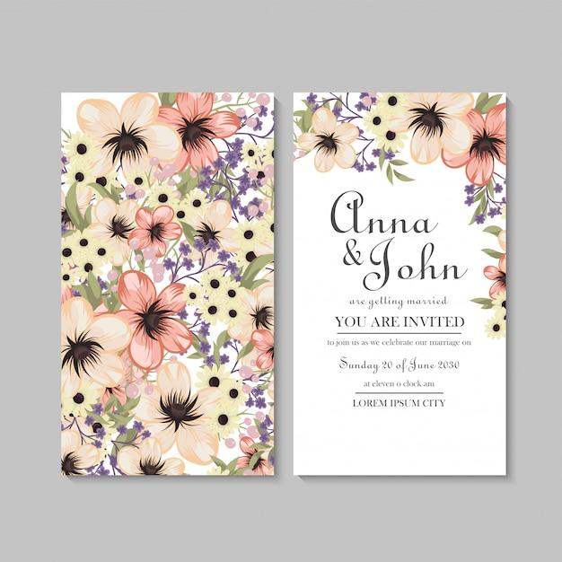 Modèle de carte de mariage floral avec motif jaune Vecteur gratuit