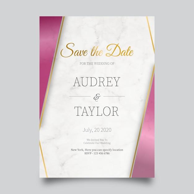 Modèle De Carte De Mariage En Marbre Vecteur gratuit