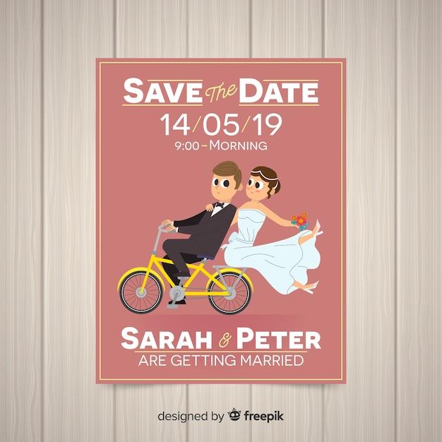 Modèle de carte de mariage plat Vecteur gratuit