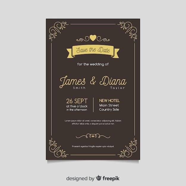 Modèle de carte de mariage rétro avec des éléments dorés Vecteur gratuit