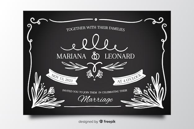Modèle de carte de mariage vintage sur tableau noir Vecteur gratuit