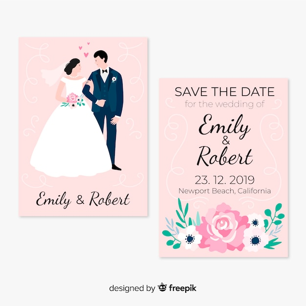 Modèle de carte de mariage Vecteur gratuit