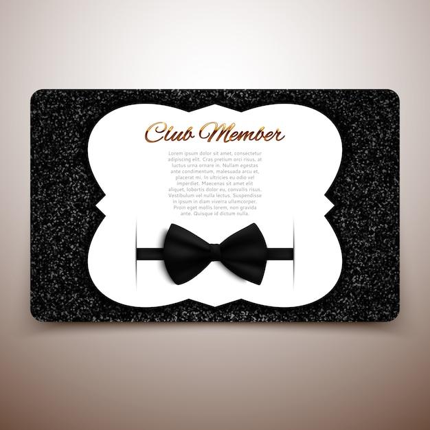 Modèle de carte de membre de club, club de messieurs, carte vip, arc noir Vecteur Premium