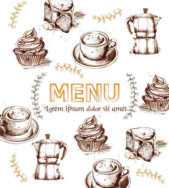 Modèle de carte de menu boissons et gâteaux Vecteur Premium