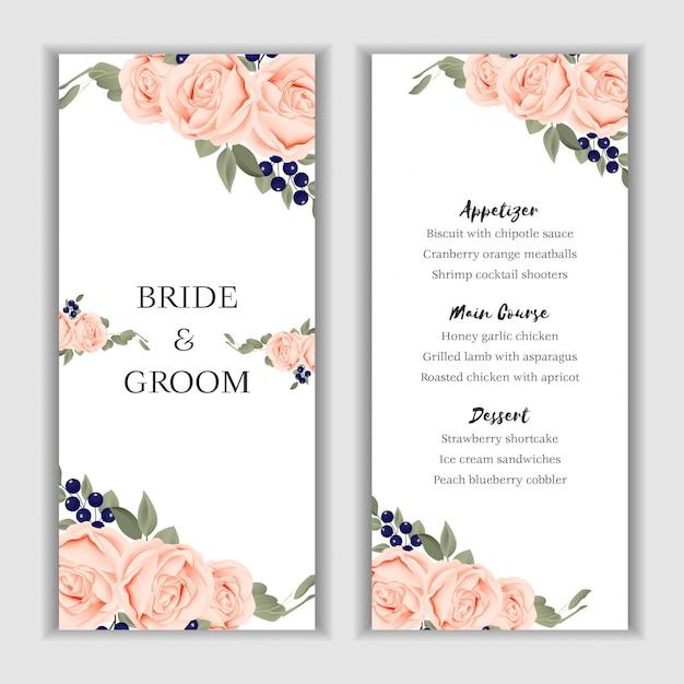 Modele De Carte De Menu Floral Bouquet Rose Pour Mariage Vecteur Premium