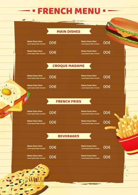 Modèle de carte de menu français ou conception de flyer. Vecteur Premium