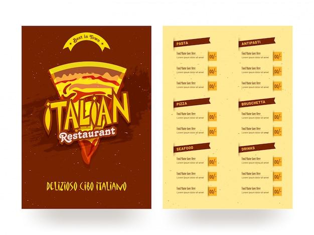Modèle de carte de menu restaurant italien ou conception de flyer. Vecteur Premium