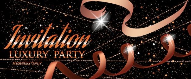 Modèle de carte d'or invitation luxury party avec ruban Vecteur gratuit