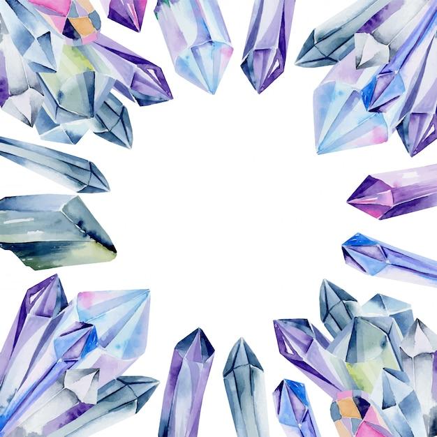 Modèle De Carte Avec Des Pierres Précieuses Aquarelles Et Des Cristaux De Couleurs Bleues Sur Fond Blanc Vecteur Premium