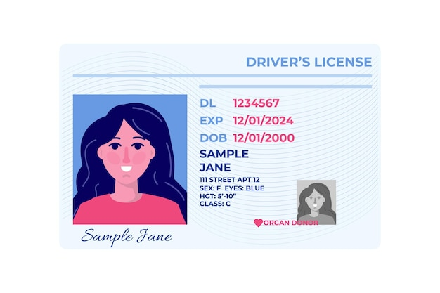 Modèle De Carte Plastique De Permis De Conduire De Voiture. Vecteur Premium
