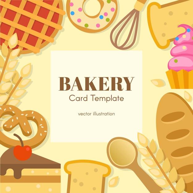 Modèle De Carte Plate De Boulangerie Vecteur gratuit