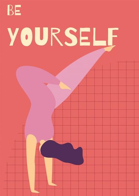 Modèle de carte plate de motivation toi-même femme Vecteur Premium
