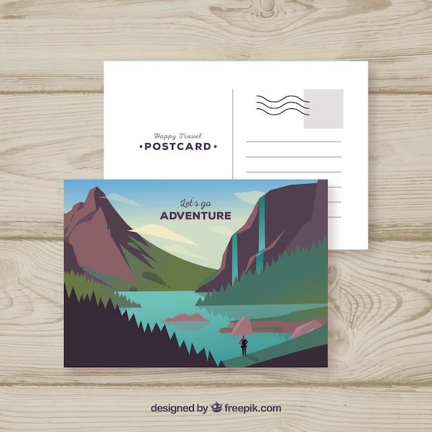 Modèle de carte postale avec concept de voyage Vecteur gratuit